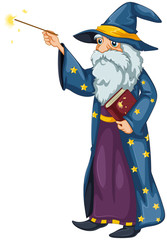 A wizard holding a magic wand and a book