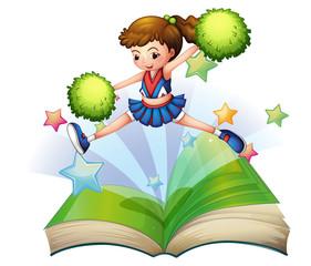 A book with a cute cheerdancer jumping