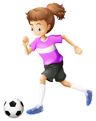 A lady playing soccer