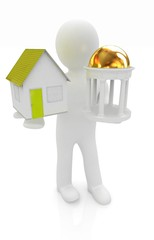 3d man with houses and rotunda