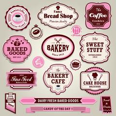 Vintage frame cupcake,bakery, bread, sandwich label set