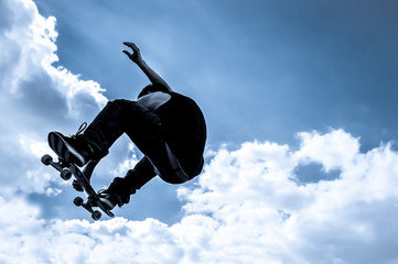 blue toned moonlight skateboarding abstract