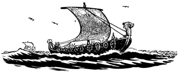 Ancient sailboat at sea