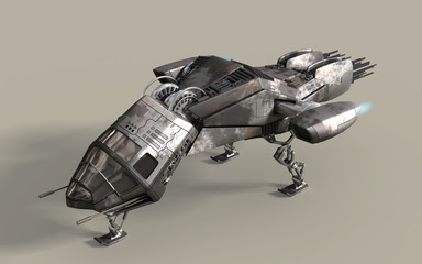 Fantasy 3D model of futuristic battleship pod with clipping path