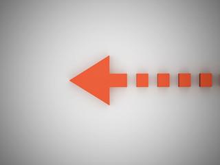 Orange arrow concept with point
