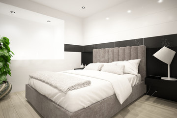 Modern light bedroom interior with white bedsheets