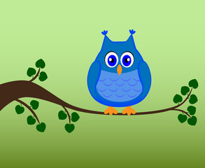 Owl sitting on a branch, vector illustration