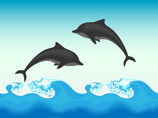 Two dolphins jumping in sea, seamless vector illustration