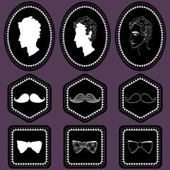 Set of various labels for gentlemen