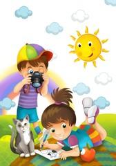 Children - creative in the park - illustration