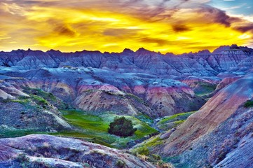 Wall Mural - HDR Sunset in The Badlands