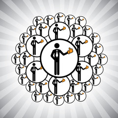 Concept vector graphic- people network connected by like hand ic