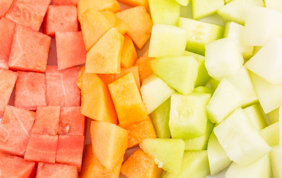 Cube Sized Melons And Honeydew