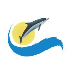 Spoed Fotobehang Dolfijnen Dolphin vector illustration, isolated icon on white