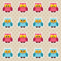 Vector seamless polka dot pattern with little cute owls