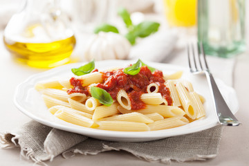 Fototapete - italian pasta with tomato sauce