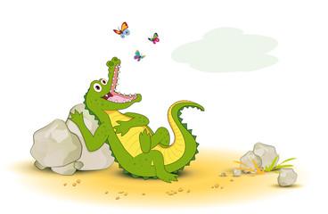 Krokodil mit Schmetterlinge