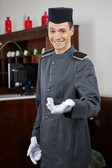 Concierge greeting guests in hotel