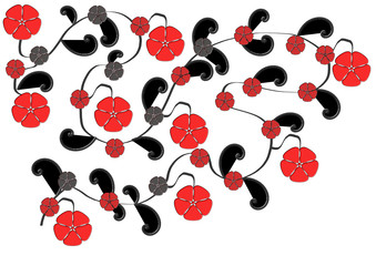 Rot schwarzes Blumenmuster