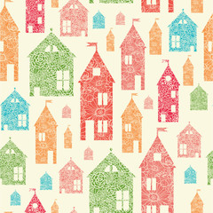 Vector flower town houses seamless pattern background with hand