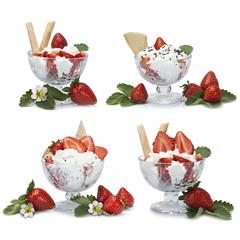Copas de fresas con nata aisladas sobre fondo blanco