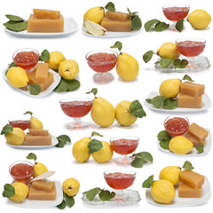 Conjunto de imágenes de dulce y jalea de membrillo.