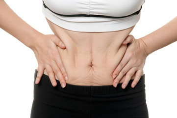 woman getting fat in Sportware need to diet, fitness time