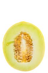 Honeydew cut in half over white background