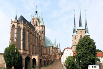 Fototapete - Dom St. Marien und St. Severi Erfurt