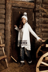 Smiling woman in the village barn