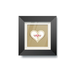 Black frame and heart paper picture background, vector