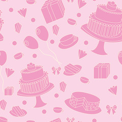 cute pink seamless festive background