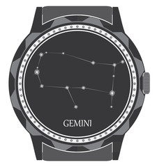 The watch dial with the zodiac sign Gemini.