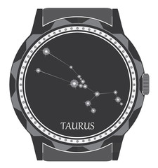 The watch dial with the zodiac sign Taurus.