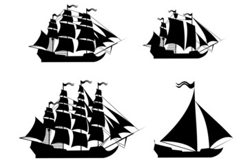 Vector ships set with separate editable elements.