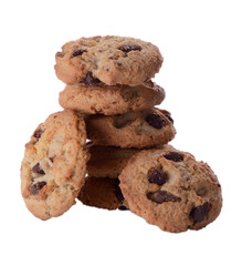 Stack of Chocolate Chip Cookies isolated on a White Background