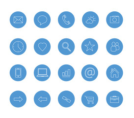 clean icons set blue