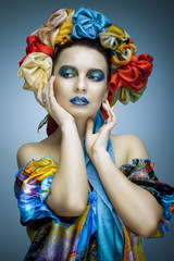 beautiful girl in ethnic dress with Ukrainian roots