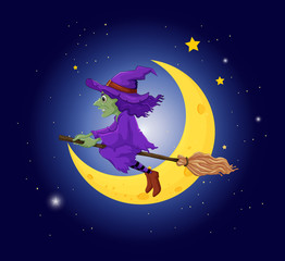 A witch with a violet hat riding on a broom