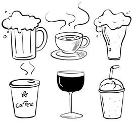 Doodle design of the different kinds of drinks