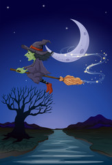 A witch travelling with her broomstick in the middle of the nigh