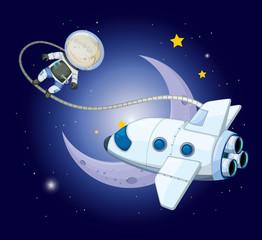A young explorer near the moon