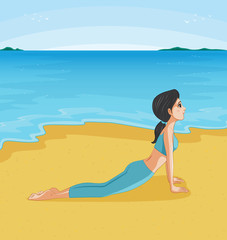 A girl doing yoga at the beach