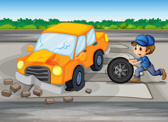 A boy repairing a car at the pedestrian lane