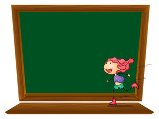 A blackboard with a girl skating