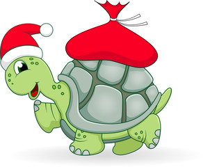 Christmas turtle cartoon