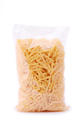 A pack of pasta isolated on a white background