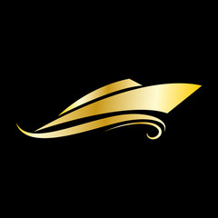 Vector golden 	Logo yacht and boat