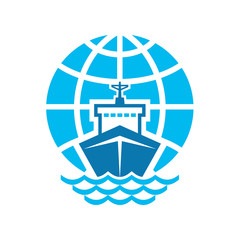 Ship & Globe Logo Sign
