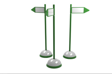 Three green signposts isolated on white background